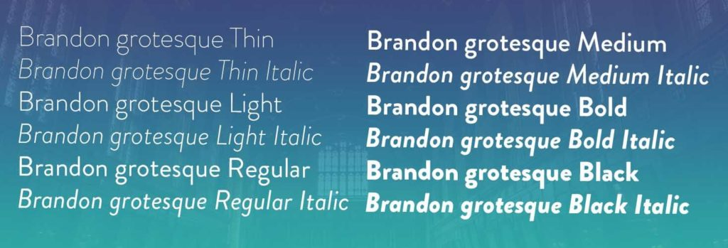 Brandon grotesque fonts family view